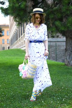 Long Shirt Dress, Fashion blogger, Maggie Dallospedale, Boater hat, Italian fashion blogger, USA Fashion Blogger