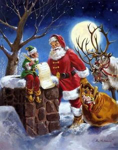 "Santa and Elf helper are Double checking the Christmas List Image Size 16"" x 22.5"" Comes with Certificate"