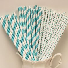 Paper Straws, Blue Stripes and Dots Paper Straws, 30 Paper Straws with DIY Flags
