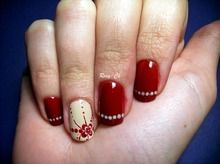 Red and Whit Nail Polish with Art Design and Rhinestones