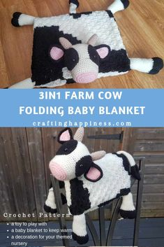 How cute is this baby blanket! Keep your baby warm while they play with the cow toy. Fold it away and instantly transforms into a happy cow decoration for your themed nursery room. Crochet a fluffy cow baby blanket that makes the perfect baby shower gift Crochet C2c, Crochet Blanket Patterns, Baby Blanket Crochet, Easy Crochet, Crochet Crafts, Corner To Corner Crochet Blanket, Cow Toys, Fluffy Cows, Baby Blanket Size