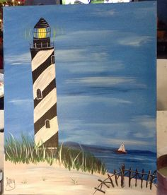 16x20 acrylic Lighthouse Painting, by Ally
