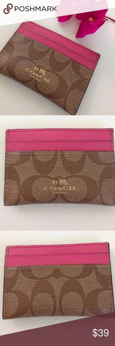 "COACH Signature Card Case Coach signature card case. PVC Khaki and Dahlia. Authentic. NWT 4 x 2 3/4"" Coach Accessories Key & Card Holders"