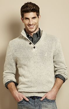 Men's Button-Up Mockneck Sweater - Nautica.com