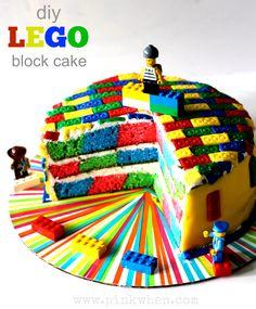 DIY Lego block cake via PinkWhen.com   crafts   recipes   diy