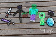 Bilderesultat for perle hama minecraft Easy Perler Bead Patterns, Melty Bead Patterns, Perler Bead Templates, Perler Bead Art, Perler Beads, Beading Patterns, Hama Beads Design, Hama Beads Minecraft, Minecraft Party