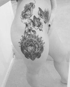 Photo by (scarliebrown) on Instagram |  #hiptattoos, #girlswithtattoos , #mandalas, #butterflytattoo Hip Tattoos, Instagram, Mandalas, Thigh Tattoos