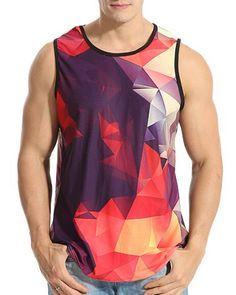 9ec551b45e610 Geometric 3d tank top colorful design sleeveless vest Geometric 3d