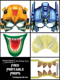 Birthday Party free printable photo booth props - Transformers and ...