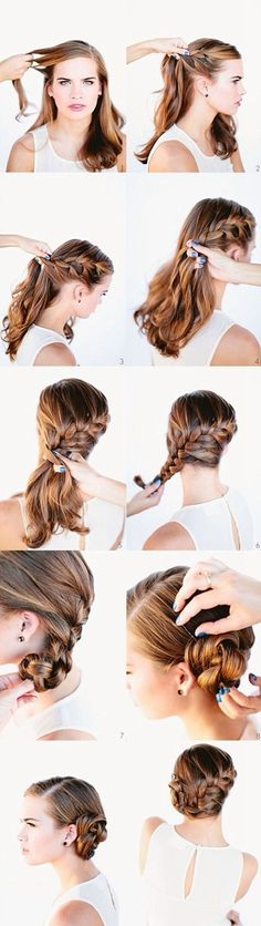 hair styles for long hair Side Braid With Bun, French Braid Buns, Side French Braids, French Bun, Side Plait, Side Chignon, Braided Side Buns, Easy Side Braid, French Fishtail