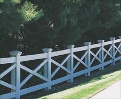 """Kentucky - A handcrafted fence with rhythmic diagonals and our Colonial post caps sets this sturdy fence apart. Smooth 3 1/2"""" x 7 1/2"""" posts, with covering boards, 1"""" x 5 1/2"""" rails and 1"""" x 3"""" diagonals have nail on installation."""