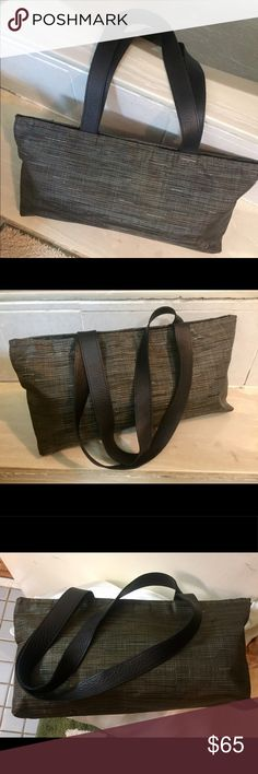 """CHILEWICH Zip Black w Leather Trim Tote Handbag Nice Chic woven zip top Tote by CHILEWICH.  High quality craftsmanship with leather trim in black.  Interior has slip pocket and cell phone pocket. Lightweight and durable for casual or active carry anywhere. This bag is in """"Good condition"""" with little to no signs of wear, some minor wear at corners but not noticible when carried. Chilewich Bags Totes"""