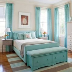 Bedroom, Best Modern Bedroom Design For Girls  Awesome Teenage Girls Bedroom Decorating Ideas With Beige Accent Wall Colors And Beautiful Turquoise Cartridge Pleat Bedroom Curtain Panel As Well As Upholstered Fabric Single Bed Plus Bench Which Has Storage Inside It