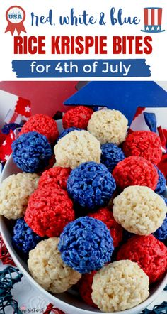 Red White and Blue Rice Krispie Bites -  Yummy, bite-sized balls of crunchy, marshmallow-y delight.  This is a 4th of July dessert that is easy to make and even yummier to eat.  These colorful and festive 4th of July Treats are sure to please your loved ones.  Pin this fun Patriotic snack for later and follow us for more fun 4th of July Food Ideas. #4thofJuly #fourthofjuly #4thofJulyTreats #RiceKrispieTreats #4thofJulyDesserts #4thofJulyFoodIdeas Blue Desserts, 4th Of July Desserts, Fourth Of July Food, 4th Of July Party, Baking Desserts, July 4th, Homemade Rice Krispies Treats, Edible Cookies, Tasty Bites