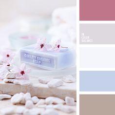 """""""бейби блу"""" цвет, бежево-розовый, бежевый, вишневый цвет, голубой с оттенком фиолетового, коричневый, нежный вишневый, нежный голубой, нежный розовый, оттенки голубого, оттенки розового, подбор красок для ремонта, светло-коричневый."""