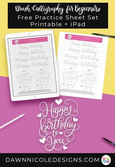 Happy Birthday Brush Calligraphy Practice Sheets. Grab these free brush calligraphy practice sheets in printable and Procreate friendly formats! #ipadlettering #moderncalligraphy #brushcalligraphy #brushlettering