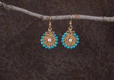 Turquoise & Pearls Dangle Earrings, Statement #jewelry #earrings @EtsyMktgTool http://etsy.me/2i7IYSZ