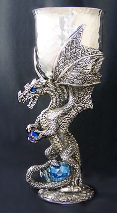 If I ever get married, this will be my ceremonial wine glass.   Platinum Dragon Pewter Goblet (Limited Edition)