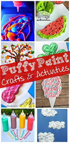 Tons of fun puffy paint crafts and activities for kids! Make your own homemade puffy paint by mixing equal parts Elmer's School Glue with shaving cream. Crafts For Kids To Make, Diy Crafts For Kids, Projects For Kids, Fun Crafts, Art Projects, Shaving Cream Crafts For Kids, Simple Crafts, Craft Ideas, Puffy Paint Crafts