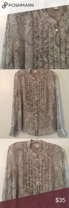 Silk JCrew paisley blouse 100% silk, black and white paisley pattern. Tuxedo ruffles with rough edges. Gently worn condition J. Crew Tops Blouses