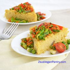SAFFRON COUSCOUS CAKE WITH SPRING VEGETABLE SAUTE  #vegan #robinrobertson #veganplanet Zsu's Vegan Pantry