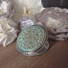 """$35 - Singapore, Singapore - - 100% handmade by myself  - Compact case mirror (2 side) in aqua / Tiffany blue color with Swarovski crystal. - size 6cm diameter (Customize color , order to made available, pls CTB)   - this is a new jewelry clay product called """"jewclay"""". The case clay is water proof without changing shape or color fade off. Color is mixed by myself with Swarovski  elements  - sliver accessories are chrome or white gold plated and not easy tarnishing  - gold chain or pendant…"""