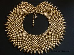 Golden Lucite Melon Shaped Beads Queen Cleopatra Collar Necklace
