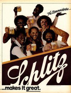 Schlitz advertisement featuring The Commodores, circa Celebrity Advertising, Retro Advertising, Retro Ads, Vintage Advertisements, Vintage Ads, Vintage Posters, Vintage Black, Schlitz Beer, American Beer