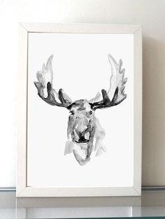 Moose painting  black grey  giclee prints  moose art  by ZenInks