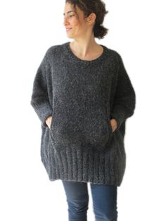 This sweater is hand knitted with high quality, thin and anti allergic mohair yarns. It has a cute pocket. It is light weight. The model has every sizes. Plus size and over size. But if you want i can knit with your special measurements. Its very warm and cozy. Any question, just convo.
