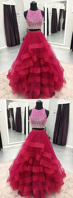 Prom Dresses 2019, Cute Prom Dress, Two Pieces Prom Dress, Prom Dress Long #PromDresses2019 #PromDressLong #TwoPiecesPromDress #CutePromDress