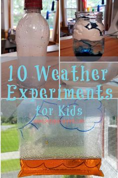 Ten, fun and exciting, weather experiments. Kids will have a blast doing experiments from water cycle in a bag to rain clouds in a jar and a rain gauge to reflecting a rainbow. Weather Experiments, Weather Science, Science Week, Weather Unit, Experiments Kids, Science For Kids, Earth Science, Cloud In A Bottle, Tornado In A Bottle