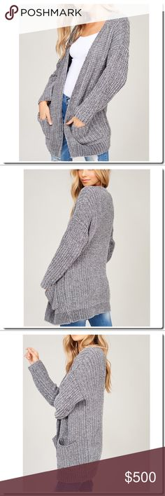 PREVIEW Chenille Knit Open Cardigan - Chenille yarn knit cardigan - Ribbed on front and bottom hem - front pockets - Open cardigan - Model in 5 feet 9 inches 32B-24-34 and wearing a size Small Sweaters Cardigans