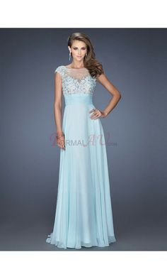 A-line High Neck Chiffon Formal Dresses/Long Evening Dresses with Appliques Beading FAU1404P800267 - Formalau.com