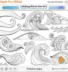 Flower Drawing Discover Wave Line Art Silhouettes Water Clip Art Coastal ClipArt Ocean Images Nautical Sea Life Swimming Beach Illustrations Line Art Photoshop, Photoshop Brushes, Watercolor Wave, Beach Illustration, Zentangle Patterns, Zentangles, Embroidery Patterns, Art Clipart, Drawing Techniques
