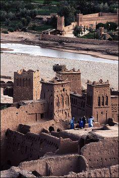 Aït-Ben-Haddou. Aït Benhaddou is a fortified city, or ksar, along the former caravan route between the Sahara and Marrakech in present-day Morocco. (V)