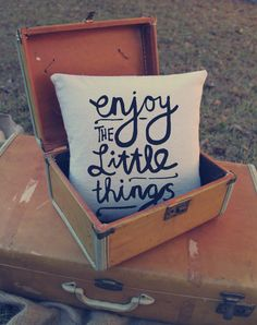 Enjoy the little things Pillow - Custom Pillows - hand writing - home deco - quote. $24.00, via Etsy.