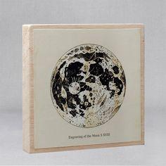Wood Art Block 5x5 Moon van TheCuratorsPrints op Etsy
