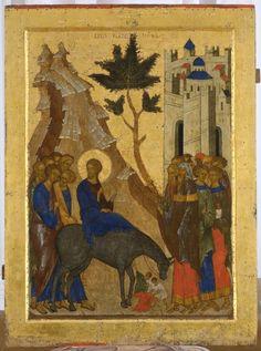 Icon of the Entry into Jerusalem century Russia) Religious Icons, Religious Art, Jerusalem, Russian Ark, Greek Icons, Russian Icons, Religious Paintings, Byzantine Icons, Christ