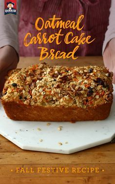 The secret ingredient in our Oatmeal Carrot Cake Bread is pineapple juice. Get the ingredients, add walnuts for extra crunch, and try it for yourself! Carrot Cake Bread, Pecan Cake, Carrot Cakes, Bread Cake, Carrot Bread Recipe Healthy, Muffin Recipes, Baking Recipes, Cake Recipes, Bread Recipes