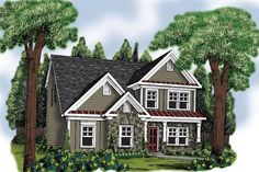 Front elevation of Traditional home (ThePlanCollection: House Plan #104-1186)
