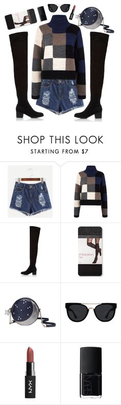 """""""Long walks at night"""" by s0f1a ❤ liked on Polyvore featuring Current/Elliott, River Island, Kate Spade, Quay and NARS Cosmetics"""