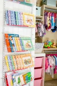 I LOVE this idea for kid's book storage. Using the space on the back of a closet door was so smart. More baby closet organization ideas are in the full post. Click for details!