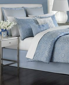 Martha Stewart Collection Periwinkle Dream 6 Piece Queen Comforter Set - Bed in a Bag - Bed & Bath - Macy's