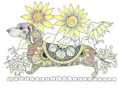 Art of Dachshund Coloring Book #doxie #dachshund https://www.etsy.com/shop/ArtByEddy