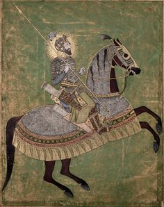 Mughal Emperor Aurangzeb mounted on a horse, and ready for battle, 1660-70. Aurangzeb was the son of Shah Jahan and brother of Dara Shikoh and reigned from 1658–1707