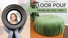 How to Make an Upcycled Floor Pouf | ECO FRIENDLY DECOR | DIY Boho Ottoman Diy Pouf, Diy Ottoman, Floor Pouf, Reupholster Furniture, Old Tires, How To Make Curtains, Boho Diy, Diy Home Decor Projects, Clothes Crafts