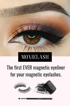 The first EVER Magnetic Liner for Magnetic Lashes! Natural, fuller lashes in 10 seconds. Simply line the eyes and pop the magnetic lash strips on the eye liner! Eyelashes Tutorial, Eyeliner Tutorial, Artificial Eyelashes, False Eyelashes, Eyeshadow For Hooded Eyes, Beauty Makeup, Eye Makeup, Beauty Killer, Beautiful Eyelashes