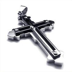 Aooaz Mens Pendant Boys Stainless Steel Pendant Silver Double Deck Christ Cross Punk Retro Pendant 36 CM