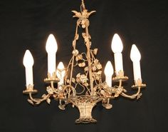 Vintage Italian Chic Flower Basket Chandelier Shabby Painted Tole.